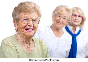 porträt, frau, girlfriends., senioren