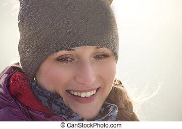 porträt, frau, junger, hübsch, winter