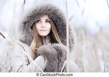 porträt, frau, junger, winter