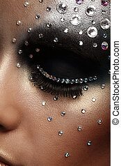 porträt, frau, künstlerisch, make-up