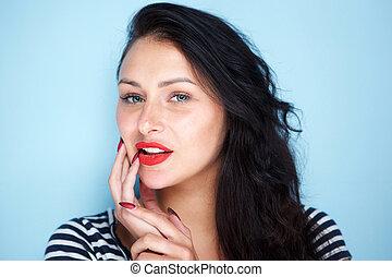 porträt, frau, lippen, hintergrund, aufschließen, rotes , junger, blaues