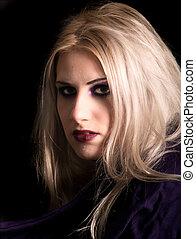porträt, frau, mode, blond