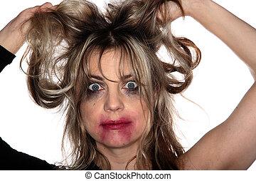 porträt, frau, strömend, weinen, make-up