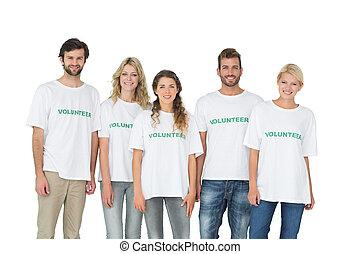 porträt, freiwilligenarbeit, gruppe, glücklich