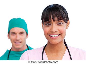 porträt, glücklich, zwei, doktoren