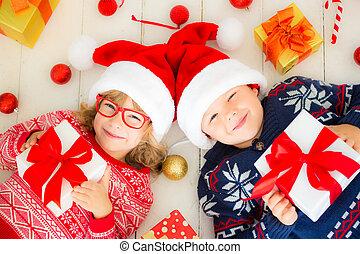 porträt, glückliches weihnachten, dekorationen, kinder