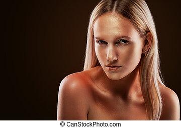 porträt, goldener hintergrund, dunkel, aufmachung, girl., blank