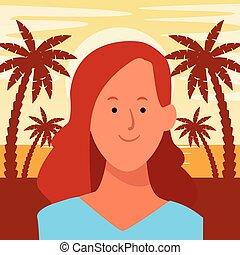 porträt, karikatur, avatar, frau