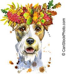 porträt, kranz, hund, terrier, aquarell, airedale, herbst ...