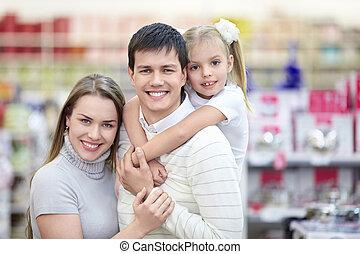 porträt, lächeln, familien, kaufmannsladen
