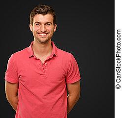porträt, lächeln, junger mann