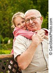 porträt, -, liebe, enkelkind, großeltern