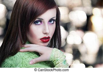porträt, lippen, brünett, rotes , schoenheit