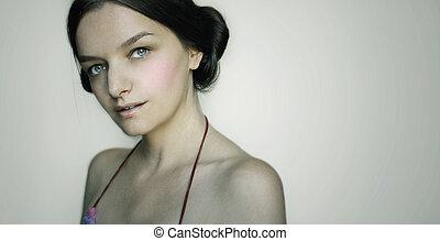 porträt, m�dchen, frisur