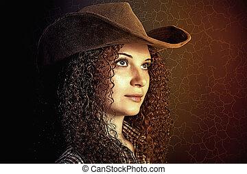 porträt, m�dchen, hübsch, lockig, cowboy