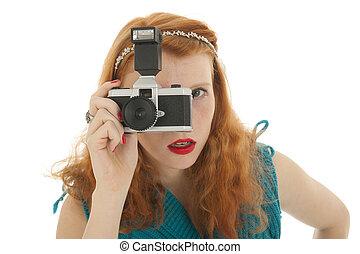 porträt, m�dchen, mit, fotokamera, und, rotes haar