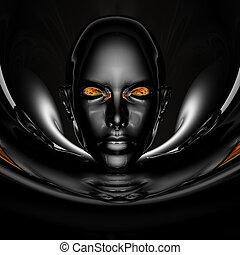 porträt, m�dchen, schwarz, cyber