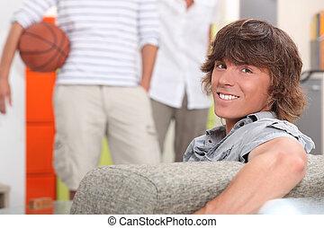 porträt, mann, junger, couch