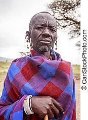 porträt, masai, junger