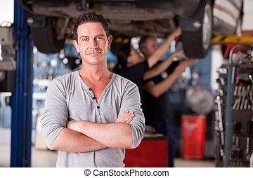 porträt, mechaniker, mann