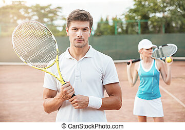 porträt, paar, tennis