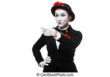 porträt, pantomime, finger, zeigt