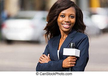 porträt, reporter, afrikanisch, nachrichten
