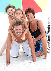 porträt, sandstrand, familie
