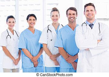 porträt, sicher, glücklich, gruppe, doktoren