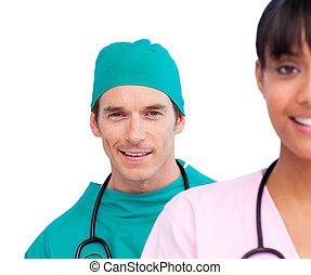 porträt, sicher, zwei, doktoren