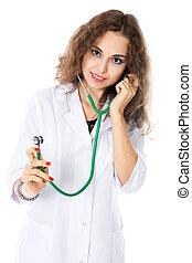 Porträt, Stethoskop, junger, Doktor