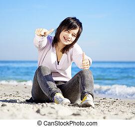 porträt, strand., brünett, m�dchen