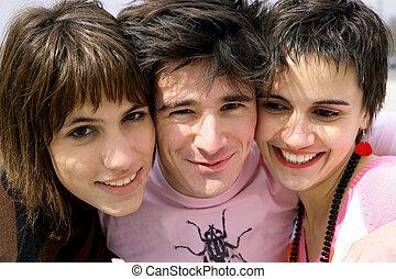 porträt, teenager, drei