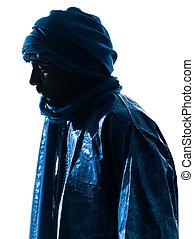 porträt, tuareg, silhouette, mann