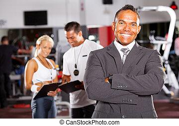 porträt, turnhalle, mann, manager