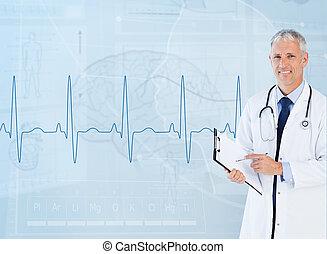 porträt, von, älter, kardiologe, gebrauchend, a, klemmbrett