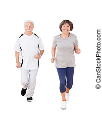 porträt, von, ältere paare, jogging