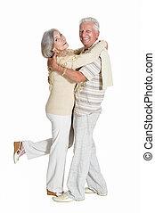 porträt, von, ältere paare, tanzen