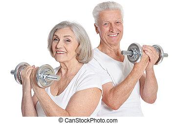 porträt, von, ältere paare, trainieren