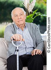 porträt, von, älterer mann, besitz, metall, opastock