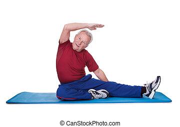 porträt, von, älterer mann, trainieren