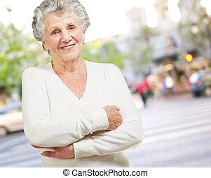 porträt, von, a, ältere frau