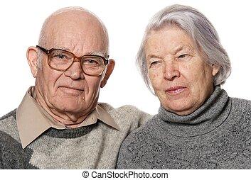porträt, von, a, ältere paare