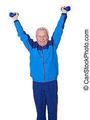 porträt, von, a, älterer mann, trainieren
