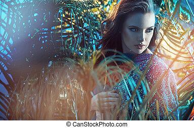 porträt, von, a, brünett, junge dame, regen, wald