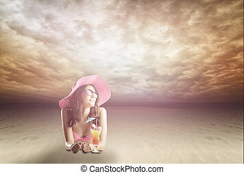 porträt, von, a, frau, in, gläser, der, sandstrand