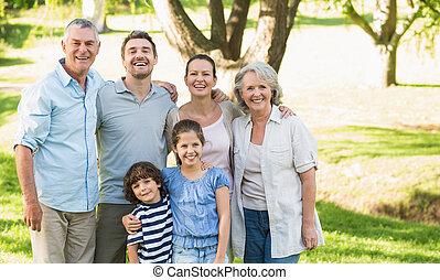 porträt, von, a, glücklich, familienkreis, park