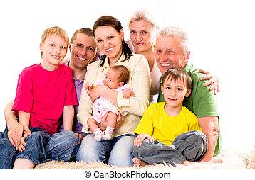 porträt, von, a, groß, familie
