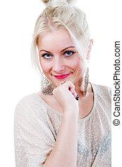 porträt, von, a, junge frau, blond