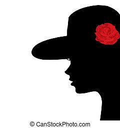 porträt, von, a, junge frau, profil